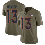 Wholesale Cheap Nike Broncos #13 KJ Hamler Olive Men's Stitched NFL Limited 2017 Salute To Service Jersey