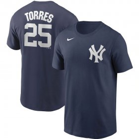 Wholesale Cheap New York Yankees #25 Gleyber Torres Nike Name & Number T-Shirt Navy