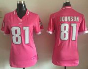 Wholesale Cheap Nike Lions #81 Calvin Johnson Pink Women's Stitched NFL Elite Bubble Gum Jersey