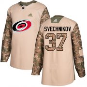 Wholesale Cheap Adidas Hurricanes #37 Andrei Svechnikov Camo Authentic 2017 Veterans Day Stitched Youth NHL Jersey