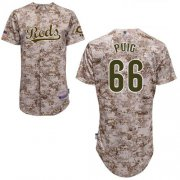 Wholesale Cheap Reds #66 Yasiel Puig Camo Cool Base Stitched Youth MLB Jersey