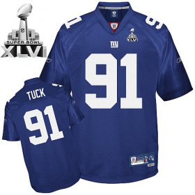 Wholesale Cheap Giants #91 Justin Tuck Blue Super Bowl XLVI Embroidered NFL Jersey
