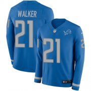 Wholesale Cheap Nike Lions #21 Tracy Walker Blue Team Color Youth Stitched NFL Limited Therma Long Sleeve Jersey