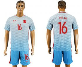 Wholesale Cheap Turkey #16 Tufan Away Soccer Country Jersey