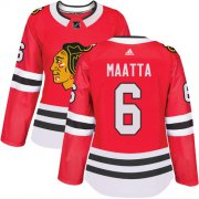 Wholesale Cheap Adidas Blackhawks #6 Olli Maatta Red Home Authentic Women's Stitched NHL Jersey