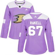 Wholesale Cheap Adidas Ducks #67 Rickard Rakell Purple Authentic Fights Cancer Women's Stitched NHL Jersey