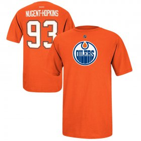 Wholesale Cheap Edmonton Oilers #93 Ryan Nugent-Hopkins Reebok Name and Number Player T-Shirt Orange