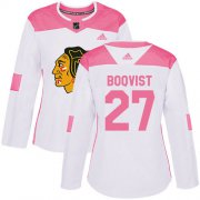 Wholesale Cheap Adidas Blackhawks #27 Adam Boqvist White/Pink Authentic Fashion Women's Stitched NHL Jersey