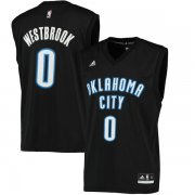 Wholesale Cheap Oklahoma City Thunder 0 Russell Westbrook Black Fashion Replica Jersey