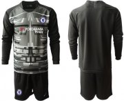 Wholesale Cheap Chelsea Blank Black Goalkeeper Long Sleeves Soccer Club Jersey