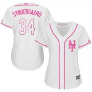 Wholesale Cheap Mets #34 Noah Syndergaard White/Pink Fashion Women's Stitched MLB Jersey