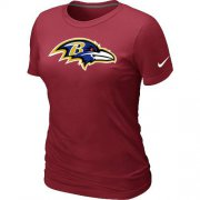 Wholesale Cheap Women's Nike Baltimore Ravens Logo NFL T-Shirt Red