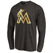 Wholesale Cheap Miami Marlins Gold Collection Long Sleeve Tri-Blend T-Shirt Black