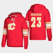 Wholesale Cheap Calgary Flames #23 Sean Monahan Red adidas Lace-Up Pullover Hoodie