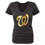 Wholesale Cheap Women's Washington Nationals Fanatics Apparel Gold Collection V-Neck Tri-Blend T-Shirt Black