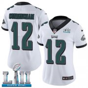 Wholesale Cheap Nike Eagles #12 Randall Cunningham White Super Bowl LII Women's Stitched NFL Vapor Untouchable Limited Jersey