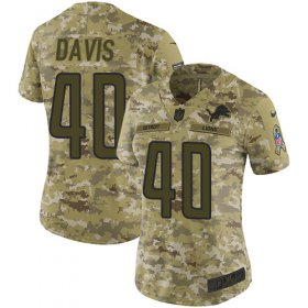 Wholesale Cheap Nike Lions #40 Jarrad Davis Camo Women\'s Stitched NFL Limited 2018 Salute to Service Jersey