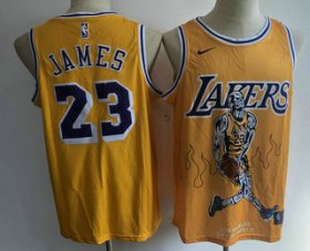 Wholesale Cheap Men\'s Los Angeles Lakers #23 LeBron James Yellow Nike Swingman Stitched Fashion NBA Jersey