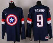 Wholesale Cheap Olympic Team USA #9 Zach Parise Navy Blue Captain America Fashion Stitched NHL Jersey