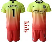 Wholesale Cheap Manchester City #1 C.Bravo Away Kid Soccer Club Jersey