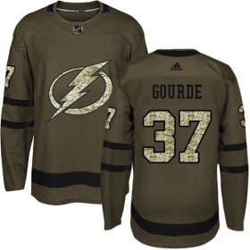 Cheap Adidas Lightning #37 Yanni Gourde Green Salute to Service Stitched Youth NHL Jersey