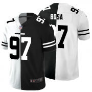 Cheap San Francisco 49ers #97 Nick Bosa Men's Black V White Peace Split Nike Vapor Untouchable Limited NFL Jersey