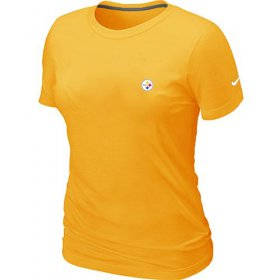 Wholesale Cheap Women\'s Nike Pittsburgh Steelers Chest Embroidered Logo T-Shirt Yellow