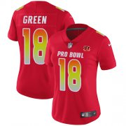 Wholesale Cheap Nike Bengals #18 A.J. Green Red Women's Stitched NFL Limited AFC 2018 Pro Bowl Jersey