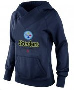 Wholesale Cheap Women's Pittsburgh Steelers Big & Tall Critical Victory Pullover Hoodie Navy Blue