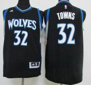 Wholesale Cheap Men's Minnesota Timberwolves #32 Karl-Anthony Towns Revolution 30 Swingman 2015 Draft New Black Jersey
