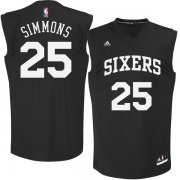 Wholesale Cheap Philadelphia 76ers #25 Ben Simmons Black Chase Fashion Replica Jersey