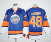 Wholesale Cheap Mets #48 Jacob DeGrom Blue Long Sleeve Stitched MLB Jersey