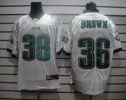 Wholesale Cheap Eagles #36 Ronnie Brown White Stitched NFL Jersey
