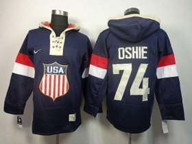 Wholesale Cheap Team USA Olympics #74 T. J. Oshie Navy Blue Sawyer Hooded Sweatshirt Stitched NHL Jersey