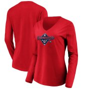 Wholesale Cheap Washington Nationals Majestic Women's 2019 National League Champions Bullpen Long Sleeve V-Neck T-Shirt Red