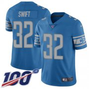 Wholesale Cheap Nike Lions #32 D'Andre Swift Blue Team Color Youth Stitched NFL 100th Season Vapor Untouchable Limited Jersey