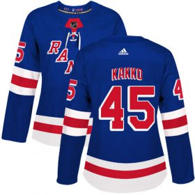 Wholesale Cheap Adidas Rangers #45 Kappo Kakko Royal Blue Home Authentic Women\'s Stitched NHL Jersey