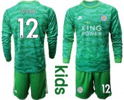 Wholesale Cheap Leicester City #12 Ward Green Goalkeeper Long Sleeves Kid Soccer Club Jersey