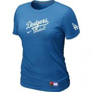 Wholesale Cheap Women's Los Angeles Dodgers Nike Short Sleeve Practice MLB T-Shirt Indigo Blue