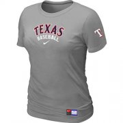 Wholesale Cheap Women's Texas Rangers Nike Short Sleeve Practice MLB T-Shirt Light Grey