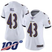 Wholesale Cheap Nike Ravens #43 Justice Hill White Women's Stitched NFL 100th Season Vapor Untouchable Limited Jersey