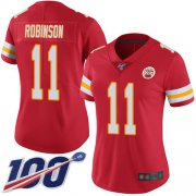 Wholesale Cheap Nike Chiefs #11 Demarcus Robinson Red Team Color Women's Stitched NFL 100th Season Vapor Limited Jersey