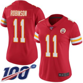 Wholesale Cheap Nike Chiefs #11 Demarcus Robinson Red Team Color Women\'s Stitched NFL 100th Season Vapor Limited Jersey