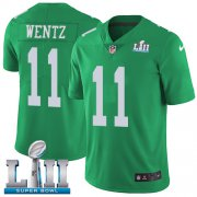 Wholesale Cheap Nike Eagles #11 Carson Wentz Green Super Bowl LII Youth Stitched NFL Limited Rush Jersey