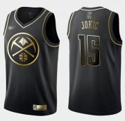 Wholesale Cheap Nike Nuggets #15 Nikola Jokic Black Gold NBA Swingman Limited Edition Jersey