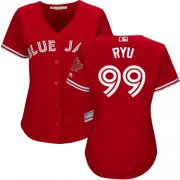 Wholesale Cheap Blue Jays #99 Hyun-Jin Ryu Red Canada Day Women's Stitched MLB Jersey