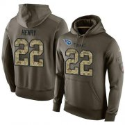 Wholesale Cheap NFL Men's Nike Tennessee Titans #22 Derrick Henry Stitched Green Olive Salute To Service KO Performance Hoodie