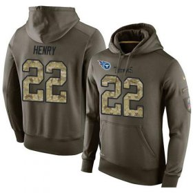 Wholesale Cheap NFL Men\'s Nike Tennessee Titans #22 Derrick Henry Stitched Green Olive Salute To Service KO Performance Hoodie