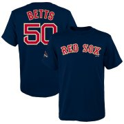 Wholesale Cheap Boston Red Sox #50 Mookie Betts Majestic Youth 2019 Gold Program Name & Number T-Shirt Navy