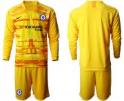 Wholesale Cheap Chelsea Blank Yellow Goalkeeper Long Sleeves Soccer Club Jersey